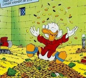 uncle scrooje playing with money