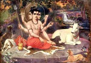 dattatreya surrounded by animals