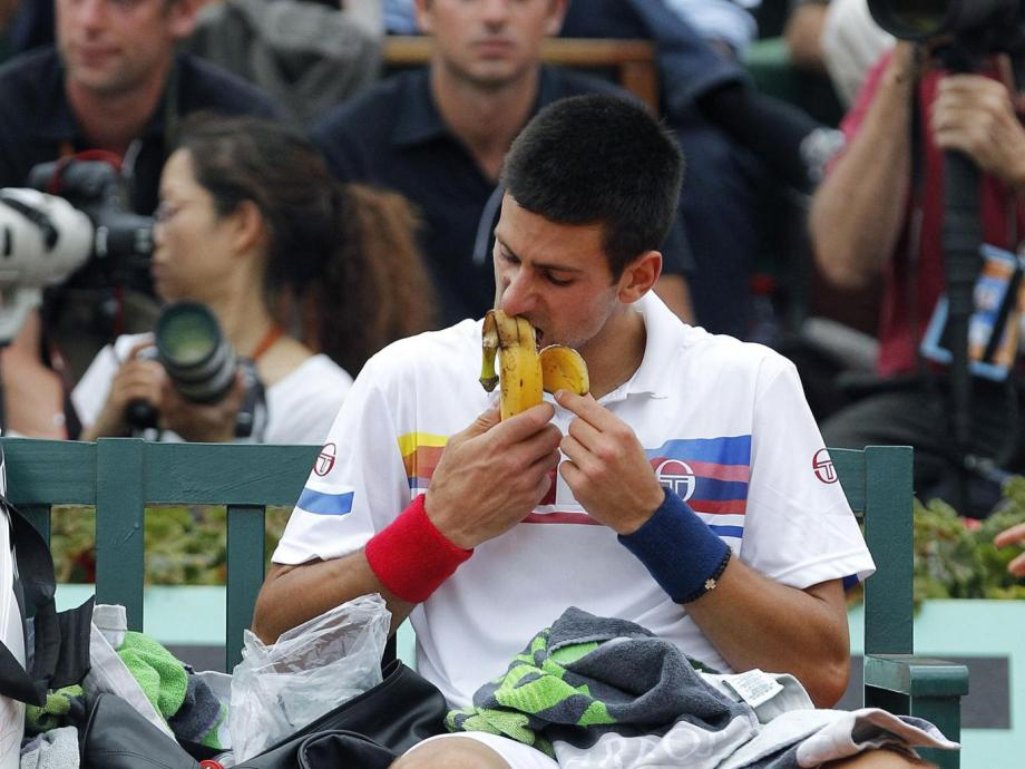 novak djokovic eating a banana