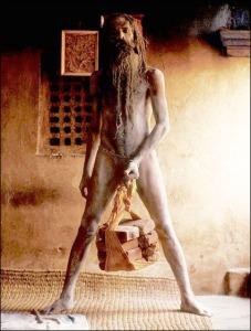 naga sadhu lifting weights with his prick