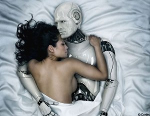 robot making love with a woman
