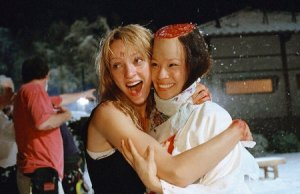 uma thurman and lucy liu behind the scene in kill bill
