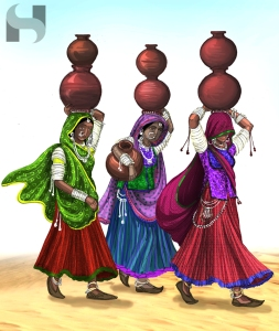 women water carrying water pots