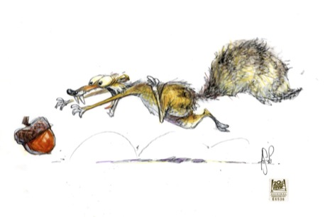 scrat running after a nut ice age