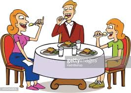 family eating on a dining table